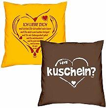 Valentinstagsgeschenk Sofa Kissen Set Ich liebe Dich weil in gelb kuscheln in braun Geschenk für Frauen Männer Sie und Ihn