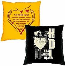 Valentinstagsgeschenk Sofa Kissen Set Ich liebe Dich weil in gelb Hab Dich lieb in schwarz Geschenk für Frauen Männer Sie und Ihn