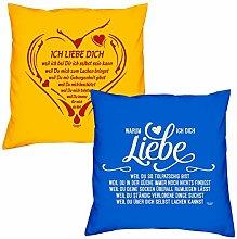Valentinstagsgeschenk Sofa Kissen Set Ich liebe Dich weil in gelb Warum ich Dich liebe in royal-blau Geschenk für Frauen Männer Sie und Ihn
