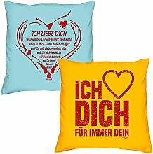 Valentinstagsgeschenk Sofa Kissen Set Ich liebe Dich weil in hellblau Ich liebe Dich in gelb Geschenk für Frauen Männer Sie und Ihn