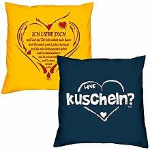 Valentinstagsgeschenk Sofa Kissen Set Ich liebe Dich weil in gelb kuscheln in navy-blau Geschenk für Frauen Männer Sie und Ihn