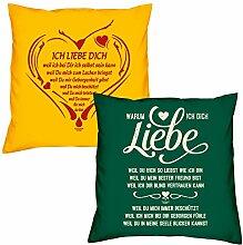 Valentinstagsgeschenk Sofa Kissen Set Ich liebe Dich weil in gelb Warum ich Dich liebe in dunkelgrün Geschenk für Frauen Männer Sie und Ihn