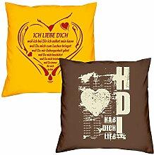 Valentinstagsgeschenk Sofa Kissen Set Ich liebe Dich weil in gelb Hab Dich lieb in braun Geschenk für Frauen Männer Sie und Ihn