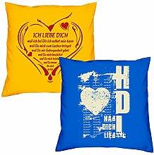 Valentinstagsgeschenk Sofa Kissen Set Ich liebe Dich weil in gelb Hab Dich lieb in royal-blau Geschenk für Frauen Männer Sie und Ihn