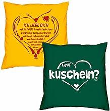 Valentinstagsgeschenk Sofa Kissen Set Ich liebe Dich weil in gelb kuscheln in dunkelgrün Geschenk für Frauen Männer Sie und Ihn