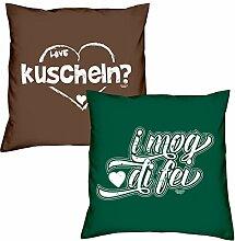 Valentinstagsgeschenk Sofa Kissen Set kuscheln in braun I mog di fei in dunkelgrün Geschenk für Frauen Männer Sie und Ihn