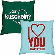 Valentinstagsgeschenk Sofa Kissen Set kuscheln in dunkelgrün I love you in hellblau Geschenk für Frauen Männer Sie und Ihn