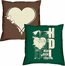 Valentinstagsgeschenk Sofa Kissen Set Love Herz in braun Hab Dich lieb in dunkelgrün Geschenk für Frauen Männer Sie und Ihn