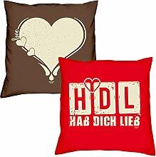Valentinstagsgeschenk Sofa Kissen Set Love Herz in braun HDL Hab Dich lieb in rot Geschenk für Frauen Männer Sie und Ihn