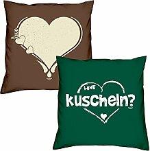 Valentinstagsgeschenk Sofa Kissen Set Love Herz in braun kuscheln in dunkelgrün Geschenk für Frauen Männer Sie und Ihn