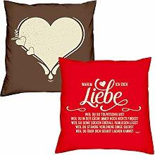 Valentinstagsgeschenk Sofa Kissen Set Love Herz in braun Warum ich Dich liebe in rot Geschenk für Frauen Männer Sie und Ihn