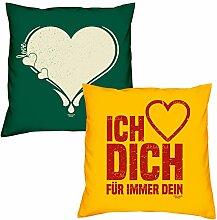 Valentinstagsgeschenk Sofa Kissen Set Love Herz in dunkelgrün Ich liebe Dich in gelb Geschenk für Frauen Männer Sie und Ihn