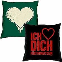 Valentinstagsgeschenk Sofa Kissen Set Love Herz in dunkelgrün Ich liebe Dich in schwarz Geschenk für Frauen Männer Sie und Ihn