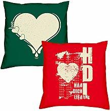 Valentinstagsgeschenk Sofa Kissen Set Love Herz in dunkelgrün Hab Dich lieb in rot Geschenk für Frauen Männer Sie und Ihn