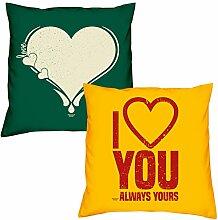 Valentinstagsgeschenk Sofa Kissen Set Love Herz in dunkelgrün I love you in gelb Geschenk für Frauen Männer Sie und Ihn