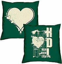 Valentinstagsgeschenk Sofa Kissen Set Love Herz in dunkelgrün Hab Dich lieb in dunkelgrün Geschenk für Frauen Männer Sie und Ihn