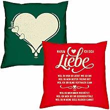 Valentinstagsgeschenk Sofa Kissen Set Love Herz in dunkelgrün Warum ich Dich liebe in rot Geschenk für Frauen Männer Sie und Ihn