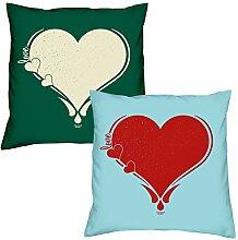Valentinstagsgeschenk Sofa Kissen Set Love Herz in dunkelgrün Herz in hellblau Geschenk für Frauen Männer Sie und Ihn