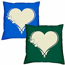 Valentinstagsgeschenk Sofa Kissen Set Love Herz in royal-blau Love Herz in dunkelgrün Geschenk für Frauen Männer Sie und Ihn