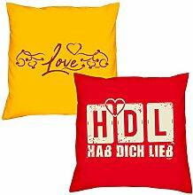 Valentinstagsgeschenk Sofa Kissen Set Love in gelb HDL Hab Dich lieb in rot Geschenk für Frauen Männer Sie und Ihn