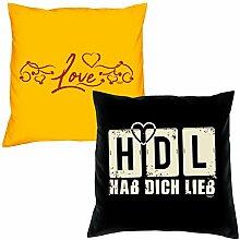 Valentinstagsgeschenk Sofa Kissen Set Love in gelb