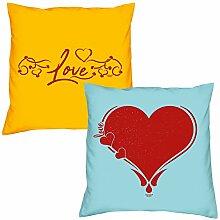 Valentinstagsgeschenk Sofa Kissen Set Love in Gelb Herz in Hellblau Geschenk für Frauen Männer Sie und Ihn
