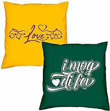 Valentinstagsgeschenk Sofa Kissen Set Love in gelb I mog di fei in dunkelgrün Geschenk für Frauen Männer Sie und Ihn
