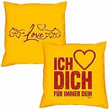 Valentinstagsgeschenk Sofa Kissen Set Love in gelb Ich liebe Dich in gelb Geschenk für Frauen Männer Sie und Ihn