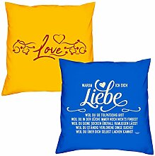 Valentinstagsgeschenk Sofa Kissen Set Love in gelb Warum ich Dich liebe in royal-blau Geschenk für Frauen Männer Sie und Ihn