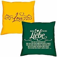 Valentinstagsgeschenk Sofa Kissen Set Love in gelb Warum ich Dich liebe in dunkelgrün Geschenk für Frauen Männer Sie und Ihn
