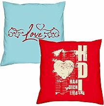 Valentinstagsgeschenk Sofa Kissen Set Love in hellblau Hab Dich lieb in rot Geschenk für Frauen Männer Sie und Ihn