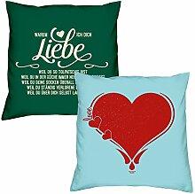 Valentinstagsgeschenk Sofa Kissen Set Warum ich Dich liebe in dunkelgrün Herz in hellblau Geschenk für Frauen Männer Sie und Ihn