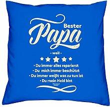 Valentinstagsgeschenk Vater Bester Papa weil Kissen mit Füllung Sofakissen als Geschenkidee Männer Farbe:royal-blau