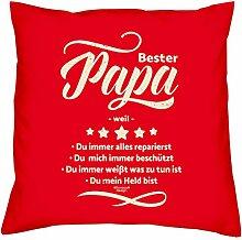 Valentinstagsgeschenk Vater Bester Papa weil Kissen mit Füllung Sofakissen als Geschenkidee Männer Farbe:ro