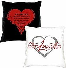 Valentistag Geschenke für Sie und Ihn -:- 2er Set Kissen komplett mit Füllung -:- Wunderschöne Liebesbeweise -:- 40x40cm -:- komplett mit Füllung -:- SD-KS-402