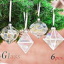 Valery Madelyn 6 Stücke 6CM Weihnachtskugeln Glas