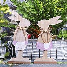 Valery Madelyn Maßnahmen 19 cm 2er Set Sanfter Frühling Osterdeko Holzfigur Garten Dekofigur Tischdeko Osterhase mit Malerei braun