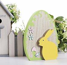 Valery Madelyn Sanfter Frühling Abnehmbare Holzfigur Dekoration Osterdekoration Garten Deko Maßnahmen 25,5 cm mit gelbes Kaninchen und Malerei
