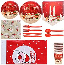 VALICLUD Einweg Weihnachtsgeschirr Set Pappteller