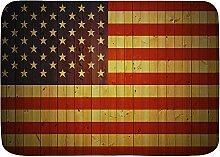 VAMIX Badematten Amerikanische Flagge Holz Rtro