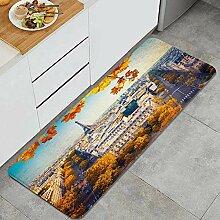 VAMIX Küchenteppich,Herbst Luftbild Eiffelturm