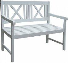 Vamundo Gartenbank 2-Sitzer weiß lackiert Akazie
