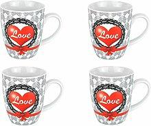 Van Well 4er Set Kaffeebecher Herz, 350 ml,