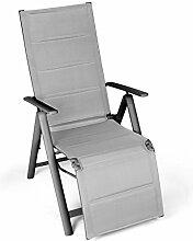 Vanage gepolsterter Gartenstuhl mit Fußableger in grau - Klappstuhl im 2er Set - Hochlehner - Klappsessel - Gartenmöbel - Stuhl für Garten, Terrasse und Balkon geeigne
