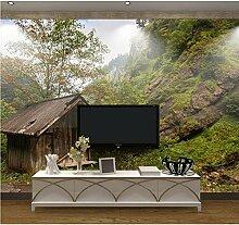 Vandelkt 3D Fototapete Tapete Berg Holzhaus Natur