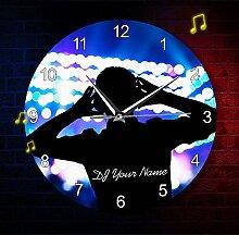 Vandelkt Dj Name Wanduhr Disc Jockey Turntable