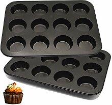 Vanly Muffin-Backform für 12 Muffins, 2 Stück,
