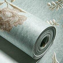 VanMe 3D-Gravur Warmen Idyllische Schlafzimmer Wohnzimmer Tv Hintergrund Wall-Ivy Blatt Blumen Lange Faser Non-Woven Tapete, Blau-Grün