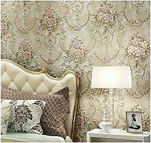 VanMe Amerikanische Exquisite Tief Geprägte Tapeten Ab Schlafzimmer Wohnzimmer Sofa Non-Woven Tuch, Hintergrundbild,Beige Ein