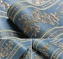 VanMe Amerikanische Exquisite Tief Geprägte Tapeten Ab Schlafzimmer Wohnzimmer Sofa Non-Woven Tuch, Hintergrundbild,Dunkelblau B